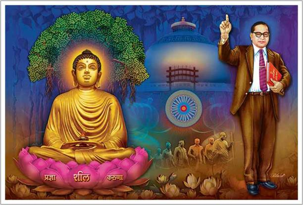 Lord Buddha And Baba Saheb Ambedkar Paper Poster Paper Print