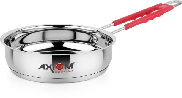 AXIOM FRYPAN 2000 ML Stainless Steel Induction & Gas Compatible (Heavy Gauge Frying Pan/Sautepan with Silicon Stay Cool Handle & Encapsulated Base 2 Litre / 24 CMS) Fry Pan 24 CM diameter