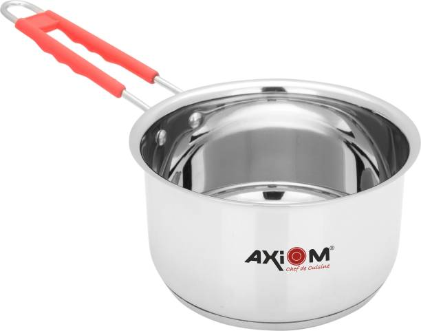 AXIOM Saucepan 2 litres Stainless Steel Induction Base Milk pan. TRIPLY Bottom cookware Tea pan with Silicon Stay Cool Handle, 2000 ML 18 cm Sauce pan Sauce Pan 19 CM diameter