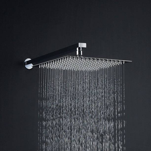 ANMEX 8x8 Ultra Slim Square Rain Shower Head with 15inch Arm Shower Head