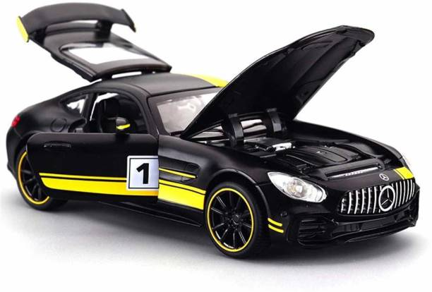 Rihishtoys Die Cast Metal cars Body Mercedes Benz metal carsLuxury Car Toy with Light and Sound Effects -yellow