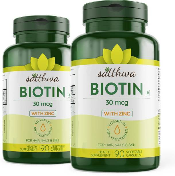 Satthwa Biotin With Zinc For Hair, Nails & Skin (Pack of 2)