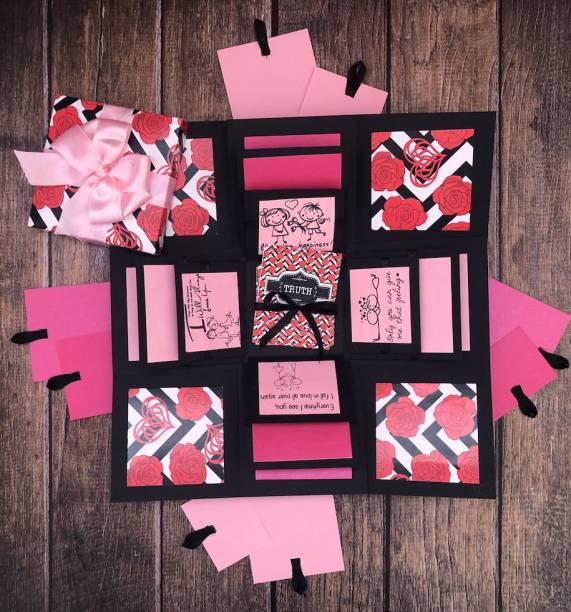 Crack of Dawn Crafts Loving Explosive Box Pink Exotica with Couples Truth or Dare Greeting Card