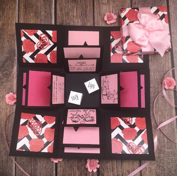 Crack of Dawn Crafts Loving Explosion Box Pink Exotica with Naughty Dice Greeting Card