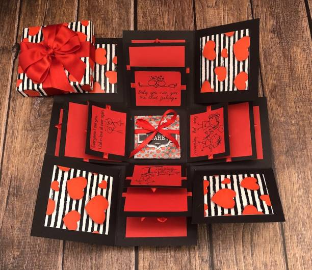 Crack of Dawn Crafts Loving Explosive Box Red Hearts with Couples Truth or Dare Greeting Card