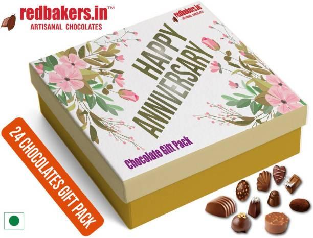 redbakers.in HAPPY Anniversary 24Chocolate Gift Box Truffles