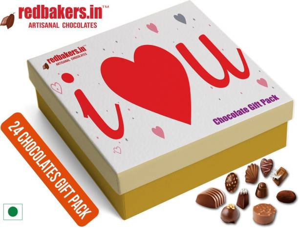 redbakers.in I Love You RED 24Chocolate Gift Box Truffles