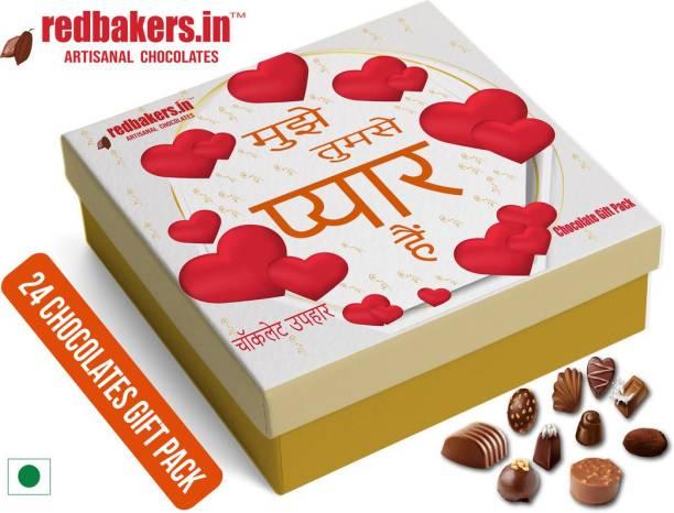 redbakers.in I Love You HINDI 24Chocolate Gift Box Truffles