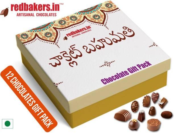 redbakers.in TELUGU 12Chocolate Gift Box Truffles