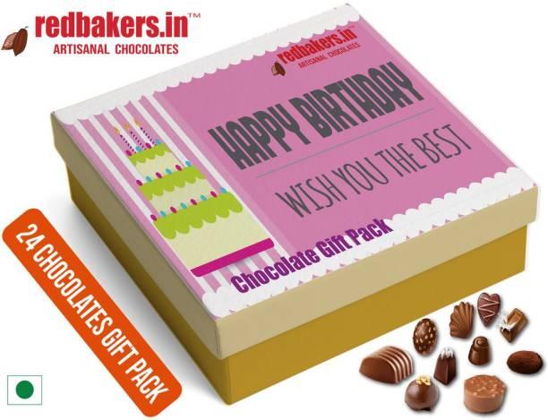 redbakers.in Happy Birthday Vanilla 24Chocolate Gift Box Truffles