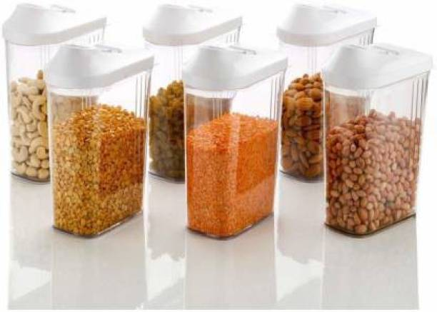 Solomon ™ Premium Quality (Quality Improved) Transparent Jar | Grocery Container | Storage Container | Container sets | Storage Jar | Containers Combo | Masala Boxes | Container For Tea, Coffee, Sugar, Food, Grain, Rice, Pasta, Pulses, Spices Container Set, 1100 ml Plastic Grocery Container (Pack of 6, White)  - 1100 Plastic Tea Coffee & Sugar Container