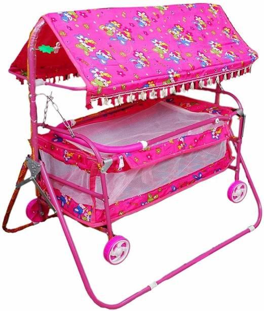 STEELOART -Baby Cradle Cot Cum Stroller Pink C_Pink Bassinet (Pink)
