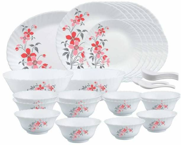 Larah by Borosil Pack of 33 Opalware HTTCECOM33DN1FIOGB Fiore 33Pcs Dinner Set