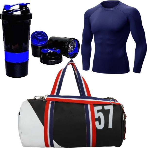 5 O' CLOCK SPORTS Gym & Fitness Combo Set, Include Black 57 Leather Duffel Gym Bag Blue Spider Blue Compression Top Gym & Fitness Kit Gym & Fitness Kit