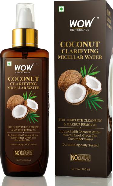 WOW SKIN SCIENCE Coconut Clarifying Micellar Water for Complete Cleansing & Makeup Removal - For All Skin Types - No Parabens, Silicones & Mineral Oil -200mL Makeup Remover