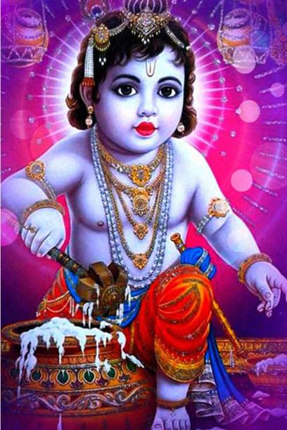 Religious Poster | Laddu Gopal | Krishna Eating Butter |Decorative Wall Poster | High Resolution -300 GSM(12x18) Paper Print