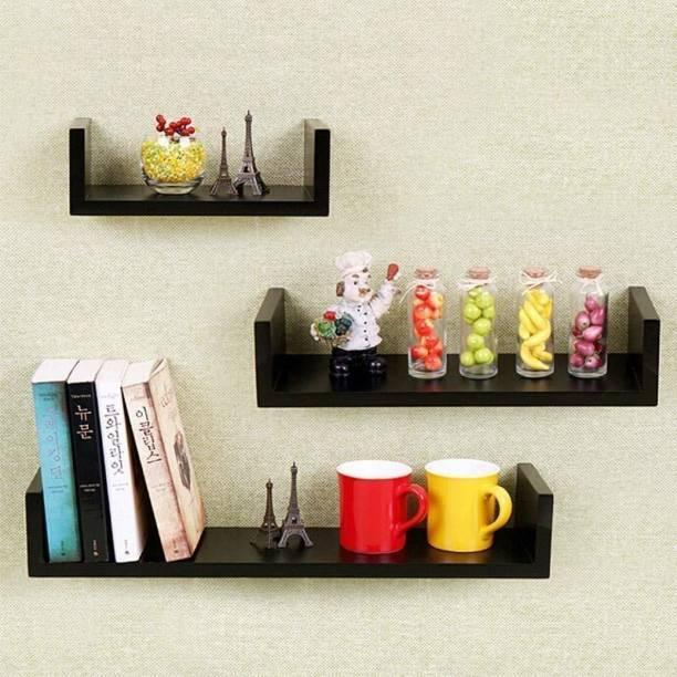 saqib ali wooden handicrafts wall rack shelves (big 4*4*16) (medium 4*4*12) (small 4*4*10) inches MDF (Medium Density Fiber) Wall Shelf