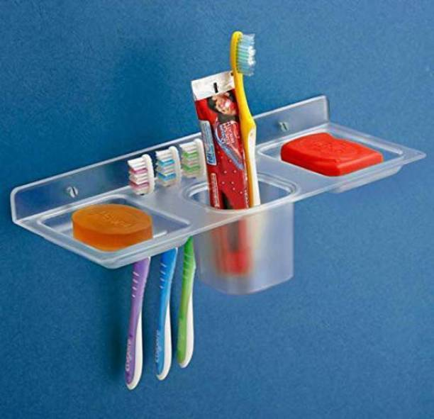 KEEPWELL Unbreakable ABS Plastic 4 in 1 Multipurpose Kitchen/Bathroom Holder / Paste-Brush Stand/Soap Stand/Tumbler Holder/Bathroom Accessories