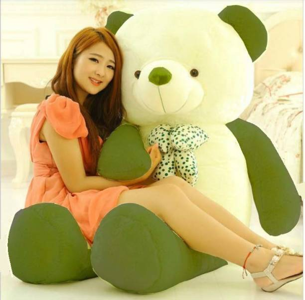 ToyKing Very Cute 4 feet (Green & White) Huggable And Loveable For Valentine Teddy Bear  - 121 cm