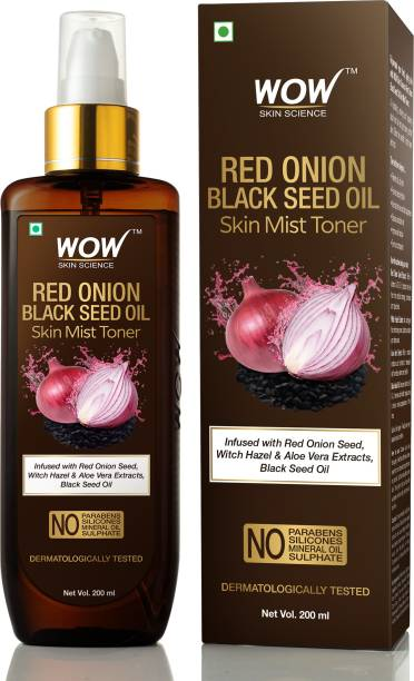 WOW SKIN SCIENCE Red Onion Skin Mist Toner with Red Onion Seed, Witch Hazel & Aloe Vera Extracts, Black Seed Oil Men & Women