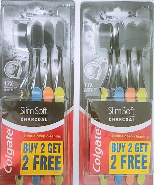 Colgate Slim Soft Charcoal Toothbrush (Buy 2 Get 2 Free) - 4 Pcs (Pack of 2) Soft Toothbrush