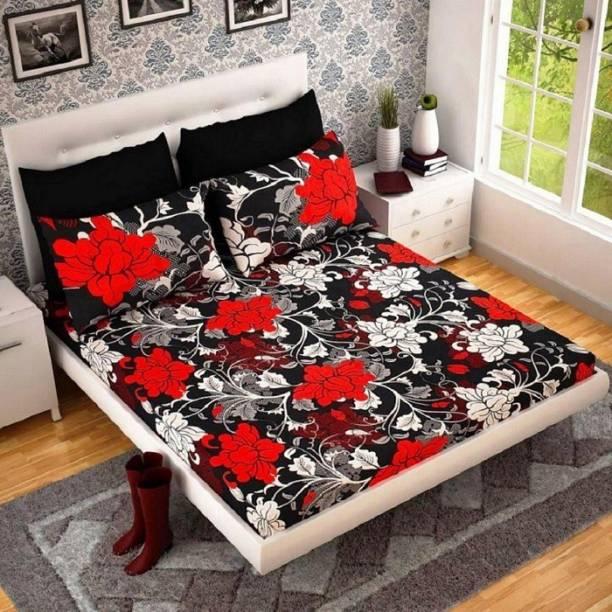 neet enterprises 140 TC Polycotton Double King Floral Bedsheet