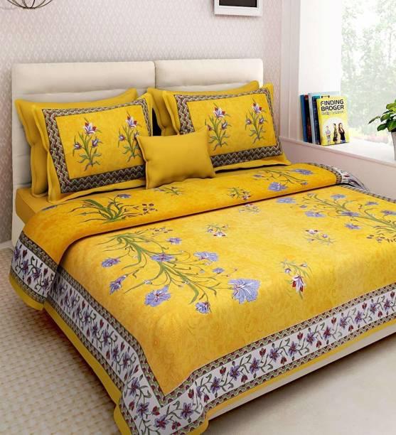 KOUNDAL 150 TC Cotton Double King Floral Bedsheet