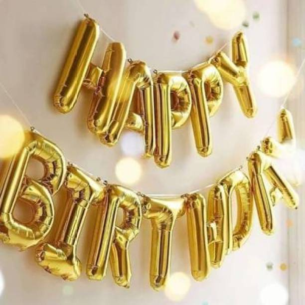 BBS DEAL Solid Solid Happy Birthday Decoration Foil Balloon For Birthday Party- Golden Letter Balloon (Gold, Pack of 13) Balloon
