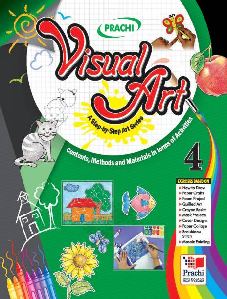 Visual Arts-4 (With Material) - A Complete and Step-by-step Series on Drawing