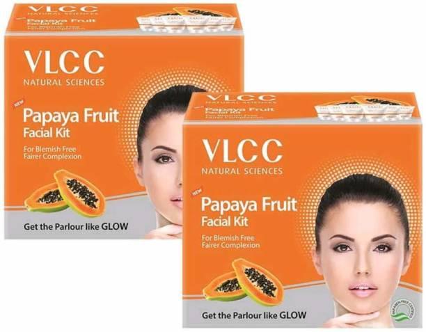 VLCC Papaya Fruit Single Facial Kit Pack of 2, Each Of 60gm