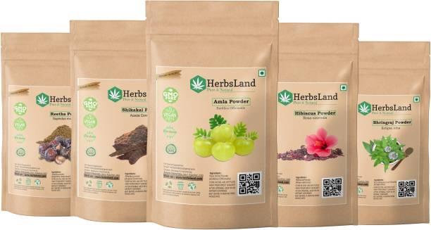 HerbsLand Combo of-Amla Reetha Shikakai Hibiscus & Bhringraj Powder for Hair Pack (125gm Each)