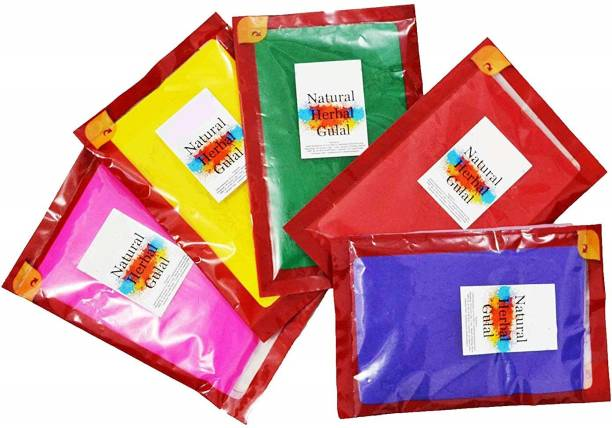 Quinergys ™ HG-563-Herbal Gulal Organic - Happy Holi Holi Color Powder Pack of 5