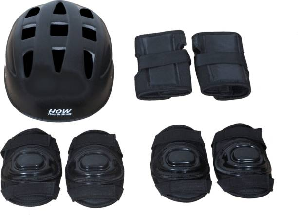 HOW(House Of Wishes) Skating Protective Gear Set for Roller Skates Cycling BMX Bike Skateboard Inline Skating Scooter Riding Sports Age 3 to 6 Year Black Extra Small Skating Kit