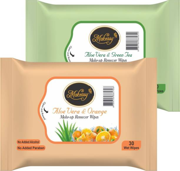 Makeasy Fresh Cleansing Combo Pack of Orange & Green Tea Makeup Remover Makeup Remover