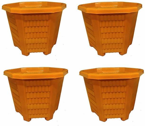 HARISWARUP Hexagon Shape Flower Pot for Home Garden Office Plant Pot Balcony Flowering Planter (Set of 4, Large) Plant Container Set