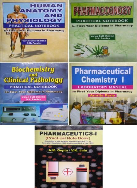 First Year Diploma In Pharmacy Practical Notebook (Pharmaceutics-I , Pharmaceutical Chemistry I , Human Anatomy & Physiology , Pharmacognosy , Biochemistry & Clinical Pathology) Pack Of 5