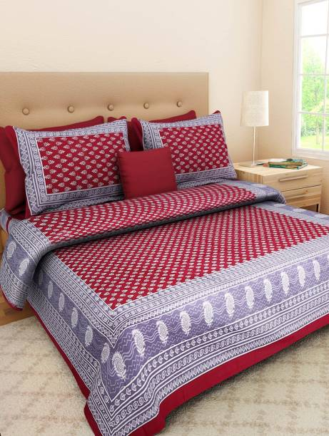 RoopGovind 100 TC Cotton Double Printed Bedsheet