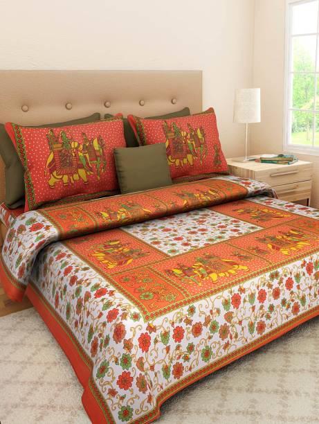 Jaipuri sanganeri cotton 300 TC Cotton Double King Printed Bedsheet