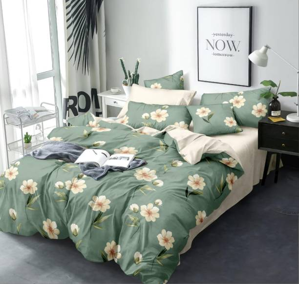 TEYJA COLLECTIONS 140 TC Cotton Double Floral Bedsheet