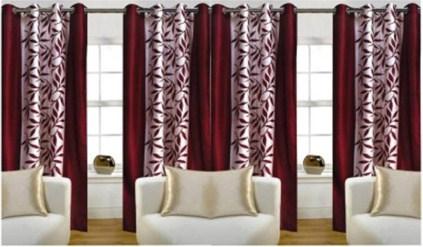 Adimanav 213.36 cm (7 ft) Polyester Door Curtain (Pack Of 4)