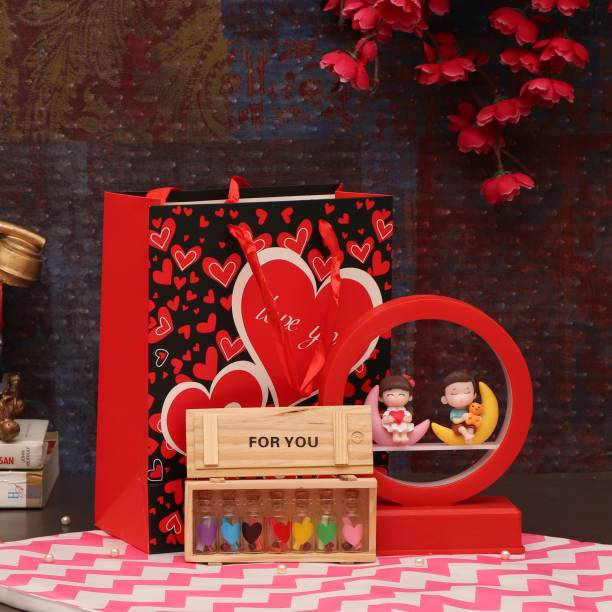 TIED RIBBONS Valentines Day Gift for Wife Husband Boyfriend Girlfriend Girls Boys - Capsule Message Bottle with Gift - (Couple Showpiece Led Lamp , Carry Bag and Love Messages Bottle) Assorted Gift Box