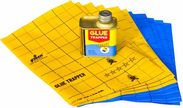 Green Revolution Glue Trapper Insect killer, Non Toxic, Non Drying, Organic Yellow & Blue Sticky trap (Reusable) For Insects, Whiteflies, Aphids, Leaf Minor, Thrips, Absorbent pest.
