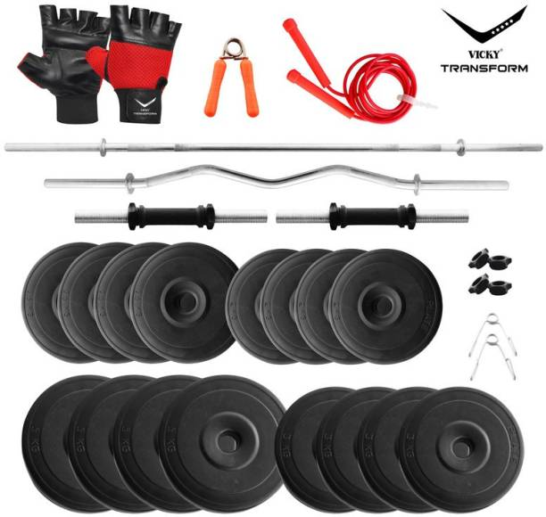 Vicky Transform 50 kg PVC 50 Kg Curl And Straight Rod Super Deluxe Combo Home Gym Combo