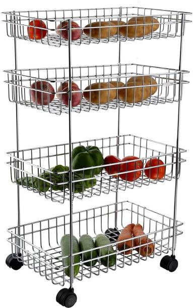 Premsakhi Stainless Steel 4 Layer Onion Potato Stand for Kitchen Fruit Vegetable Stand Storage Trolley Dish Drainer Kitchen Rack