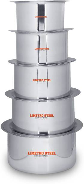 LIMETRO STEEL High Quality Stainless Steel Heavy 22 Gauge Cook and Serve Use Steel tope set with lid Tope Set with Lid