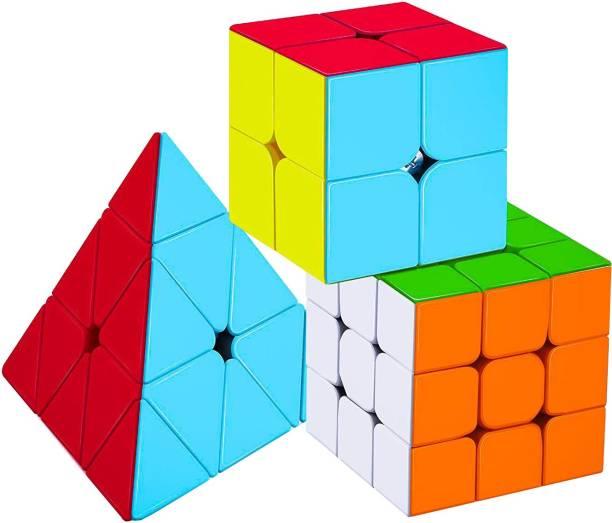Authfort Cube Combo of 2X2 3x3 and Pyraminx Pyramid Triangle High Speed Stickerless Cube