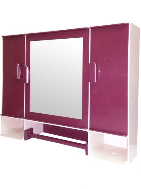 WINACO Monalisa Off White BurgundyBathroom Cabinet Fully Recessed Medicine Cabinet