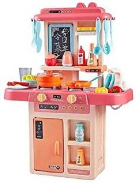 himanshu tex Kids 36-Piece Kitchen Playset, with Realistic Lights & Sounds,Simulation of Spray, Play Sink with Running Water,Dessert Shelf Toy & Kitchen Accessories Set