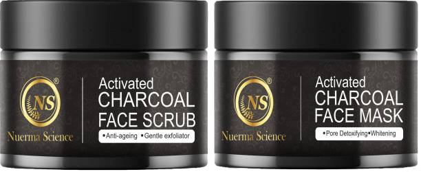 Nuerma Science Charcoal Face Scrub & Charcoal Face Mask with Tea Tree Oil For Gently Exfoliating Skin, Deep Pore Cleansing & Remove Excess Oil (Pack of 2) Scrub