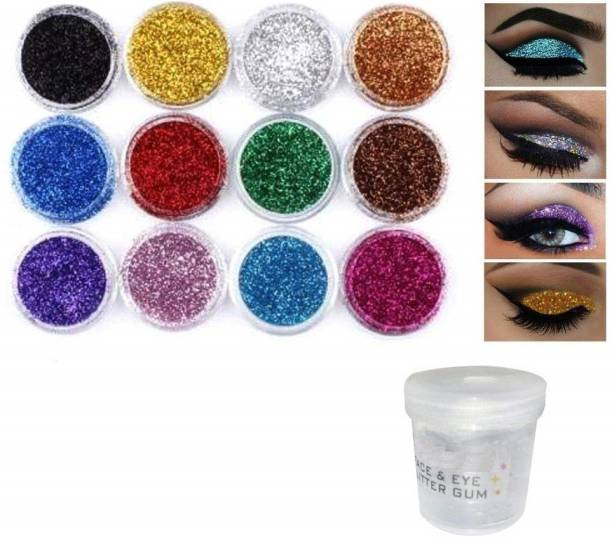 Elecsera Bright Multi Colors Eye Dry Thick Shimmer Glitters - Pack Of 12 Pcs with Eye Glue/Gum